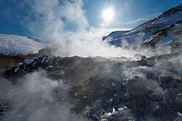 Geothermal activity of mudpots, hot springs and fumaroles, at Krisuvik Krysuvik_Seltun, Reykjanes Peninsula, south_west Iceland, Iceland, Polar Region...