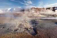 Geothermal activity of mudpots, hot springs and fumaroles, at Krisuvik Krysuvik_Seltun, Reykjanes Peninsula, south_west Iceland, Iceland, Polar Region...