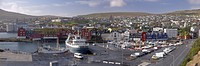 Panoramic view of Torshavn and harbour, capital of the Faroe Islands Faroes, Denmark, Europe