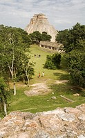 Pyramid of the Magician in Pre-Columbian mayan ruins of Uxmal. Yucatan. Mexico