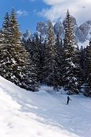 Winter landscape, Le Odle Group with Geisler Spitzen, 3060m, Val di Funes, Dolomites, Trentino_Alto Adige, South Tirol Tyrol, Italy, Europe