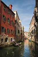 Gondola on Rio dei Santi Apostoli canal, Venice, Veneto, Italy, Europe