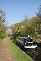 A cruising narrow boat on the Llangollen Canal, Wales, United Kingdom, Europe