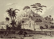 A 19th century engraving of the ruins of Borobudur, Java, Indonesia, Southeast Asia, Asia