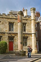 Roman Column and Minster School. York York. Yorkshire. England. UK.