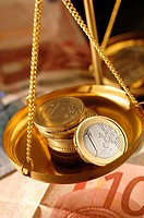Euro coins in pan of weighing balance