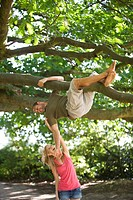 A young man hanging from a tree, girlfriend tickling him