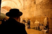 The men´s prayer area including Wilson´s arch located at the Western wailing wall in Jerusalem