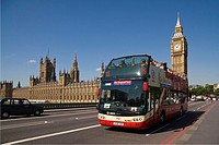 Tourist Bus, and, London Taxi, with Big Ben, and, Houses of Parliament, London,UK