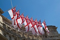 Flags out for Trooping The Colour, at Admiralty Arch, London, UK