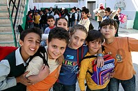 Boys in the school yard  Many Iraqi refugees have settled in Amman, Jordan and their children go to school there because of the ongoing violence in th...