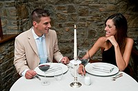 Couple sitting at restaurant table