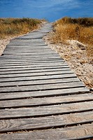 Wood path at the beach. Denia. Alicante. Spain