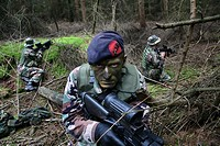 soldiers simulating a warzone in Lauwersoog where a village is built for this purpose