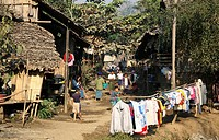Village scene in refugee camp in Mae Sot  Around 130,000 Burmese refugees have settled in Thailand due to opression in their homeland of Myanmar Burma...