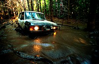 Four Wheel Drive in Water at Night