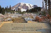 mount rainier national park, washington, united states of america, inscription on steps in paradise park