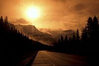 Misty mountain road, Banff National Park, Alberta, Canada