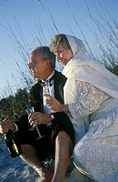 Older Couple Drinking Champagne On Beach