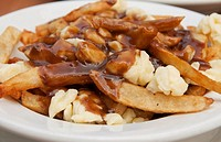 A plate of poutine, a favourite French Canadian snack