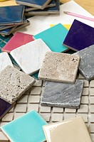 Close-up of assorted swatches of tiles (thumbnail)