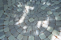 High angle view of a mosaic stone path