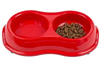 Pet food and water in red plastic bowl uid 1197032