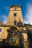 Orloj astronomical clock and old town hall tower central Prague Czech Republic Europe