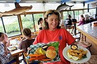 Florida, Florida Keys, Islamorada, US Route 1, Overseas Highway, Island Grill Restaurant, business, seafood, casual dining, waterfront, woman, waitres...