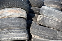 old car tyres stacked