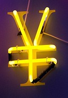Detail of neon sign in shape of Yen currency symbol