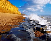 Burton Beach at Burton Bradstock on the Dorset Jurassic Coast, near Bridport, Dorset, England, United Kingdom