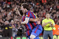Barcelona, Camp Nou Stadium, FC Barcelona, Leo Messi and Xavi Hernández celebrate a goal, 2010