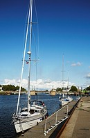 Latvia, Eastern Europe, Baltic States, Western Latvia, Liepaja, Yachts In Docks Area