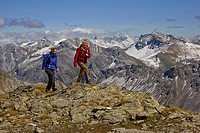 Walking in the Bundner Alps, in between Arosa and Lenzerheide, Graubunden, Switzerland.