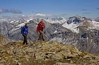 Walking in the Bundner Alps, in between Arosa and Lenzerheide, Graubunden, Switzerland.