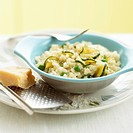 Risotto primavera with courgettes, peas and Parmesan