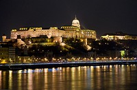 Buda Castle reflected in the Danube, Budapest, Hungary