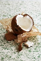 Opened coconut on paper