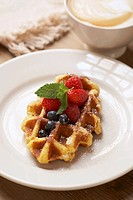 Belgium Waffle with Berries, Latte