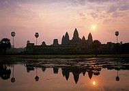 Reflection of Angkor Wat temple silhouette in the temple lake, Angkor, near Siem Reap City, Cambodia, Asia