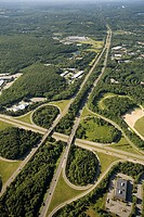 Cloverleaf intersection at Rt 495, Southborough, Massachusetts, USA