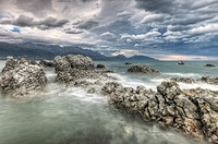 Nor'west storm clouds, Kaikoura headland, North Canterbury, New Zealand