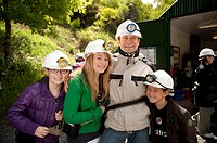 Family of tourists at Dolaucothi Gold Mine, National Trust, Carmarthenshire, west wales, UK