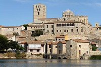 View of the oil mills and the old town of Zamora, Spain