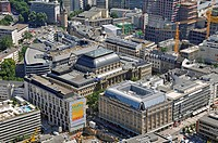 View of the Frankfurt Stock Exchange, Frankfurt am Main, Germany, bird´s eye view