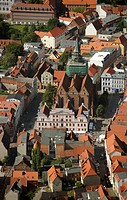 Parish church St. Marien and town hall, Guestrow, Mecklenburg_Western Pomerania, Germany