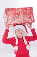 christmas girl with present