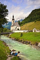 St Sebastian´s church Ramsau Bavarian Alps Germany Europe