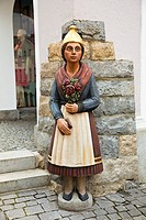 Carved wooden figure in the town centre at Waldkirchen in the Bavarian Forest region, Germany, Europe